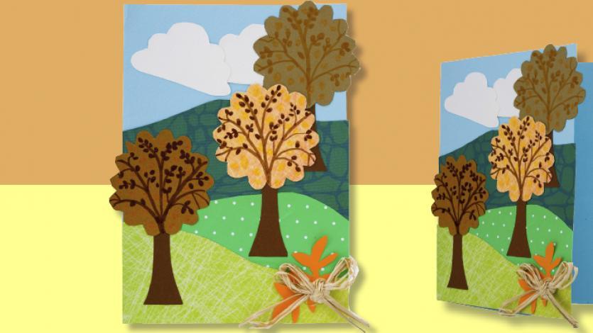 Κάρτα με φθινοπωρινά δεντράκια