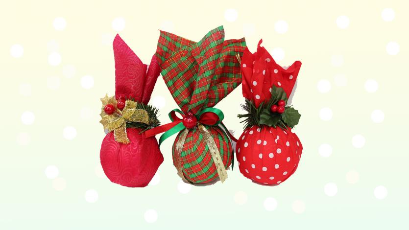 Χριστουγεννιάτικες μπάλες από ύφασμα