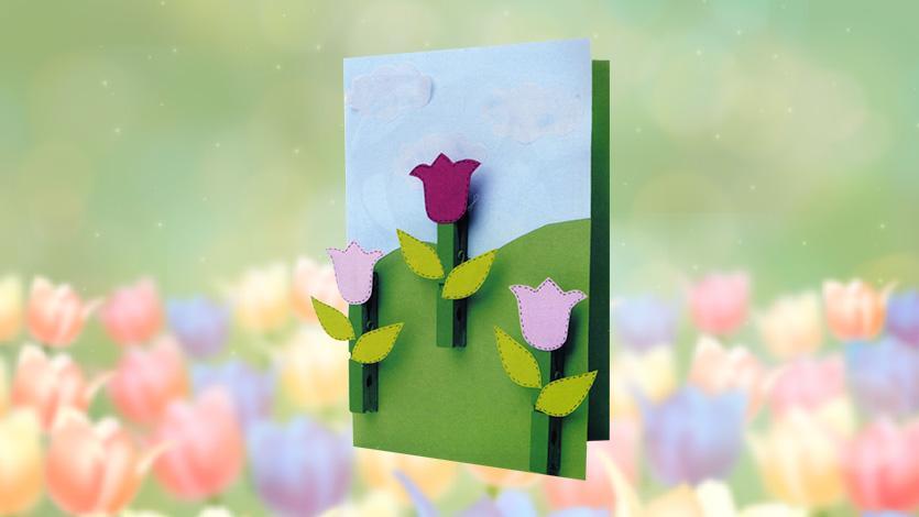 Ανοιξιάτικη κάρτα για ευχές με τουλίπες