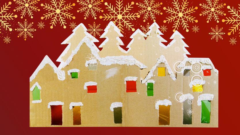 Χριστουγεννιάτικο χωριό από χαρτόκουτα