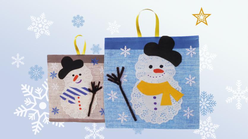 Καδράκι χιονάνθρωπος με χάρτινα μικρά σουβέρ