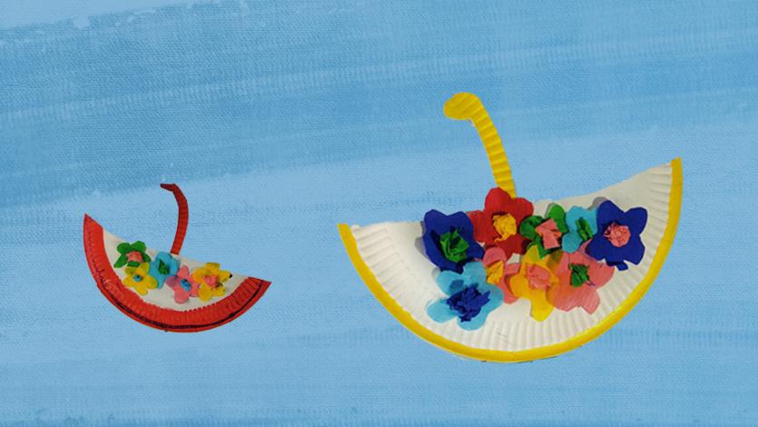 Καλαθάκια με λουλούδια από πιατάκια του πάρτι