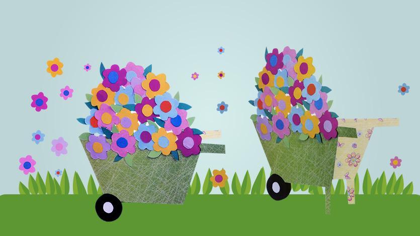 Κάρτα καροτσάκι με λουλούδια