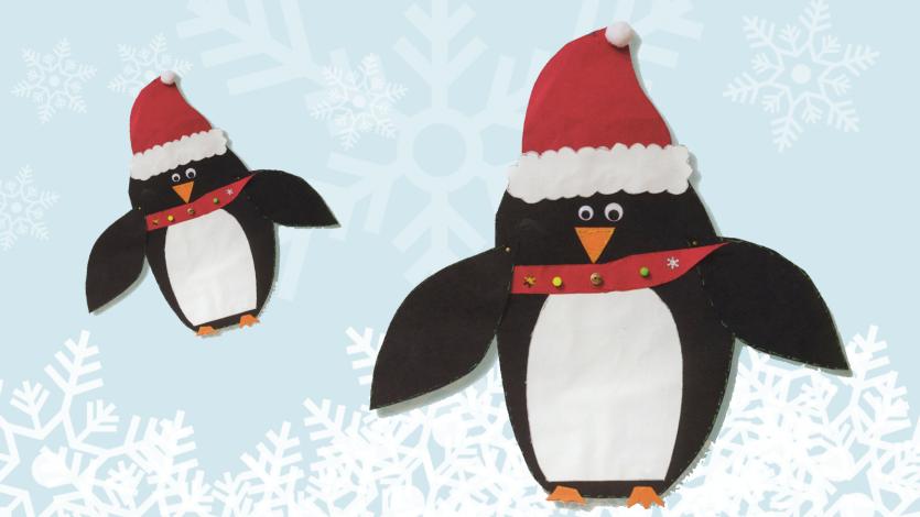 Πιγκουίνος με καπέλο Άγιου Βασίλη: Χριστουγεννιάτικη κάρτα