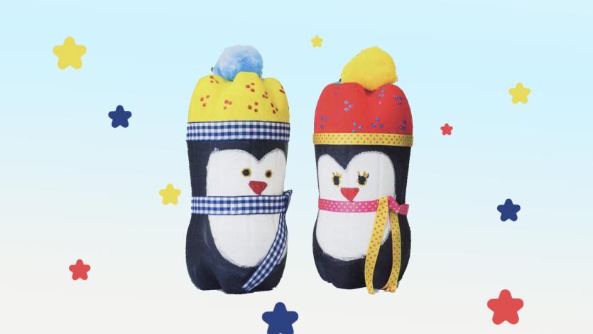 Πιγκουινάκια ζευγάρι από μπουκάλια πλαστικά