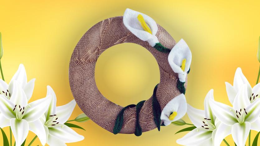 Πρωτομαγιάτικο στεφάνι με τσόχινα λουλούδια